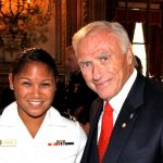 Navy nurse Lt. Jg. Castillo and 2009 Honoree of the Year Arnold Fisher.