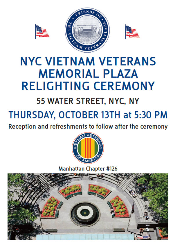NYC Vietnam Veterans Memorial Plaza Relighting Ceremony